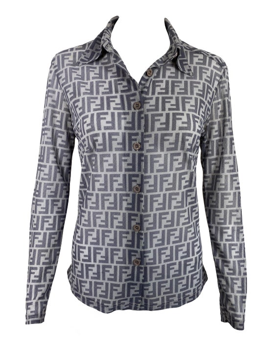 FENDI Vintage Zucca Print Shirt Mesh Monogram Pri… - image 2