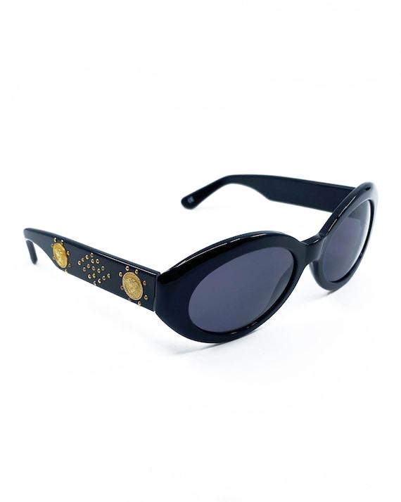 GIANNI VERSACE 1990s Black Studded Sunglasses ova… - image 8