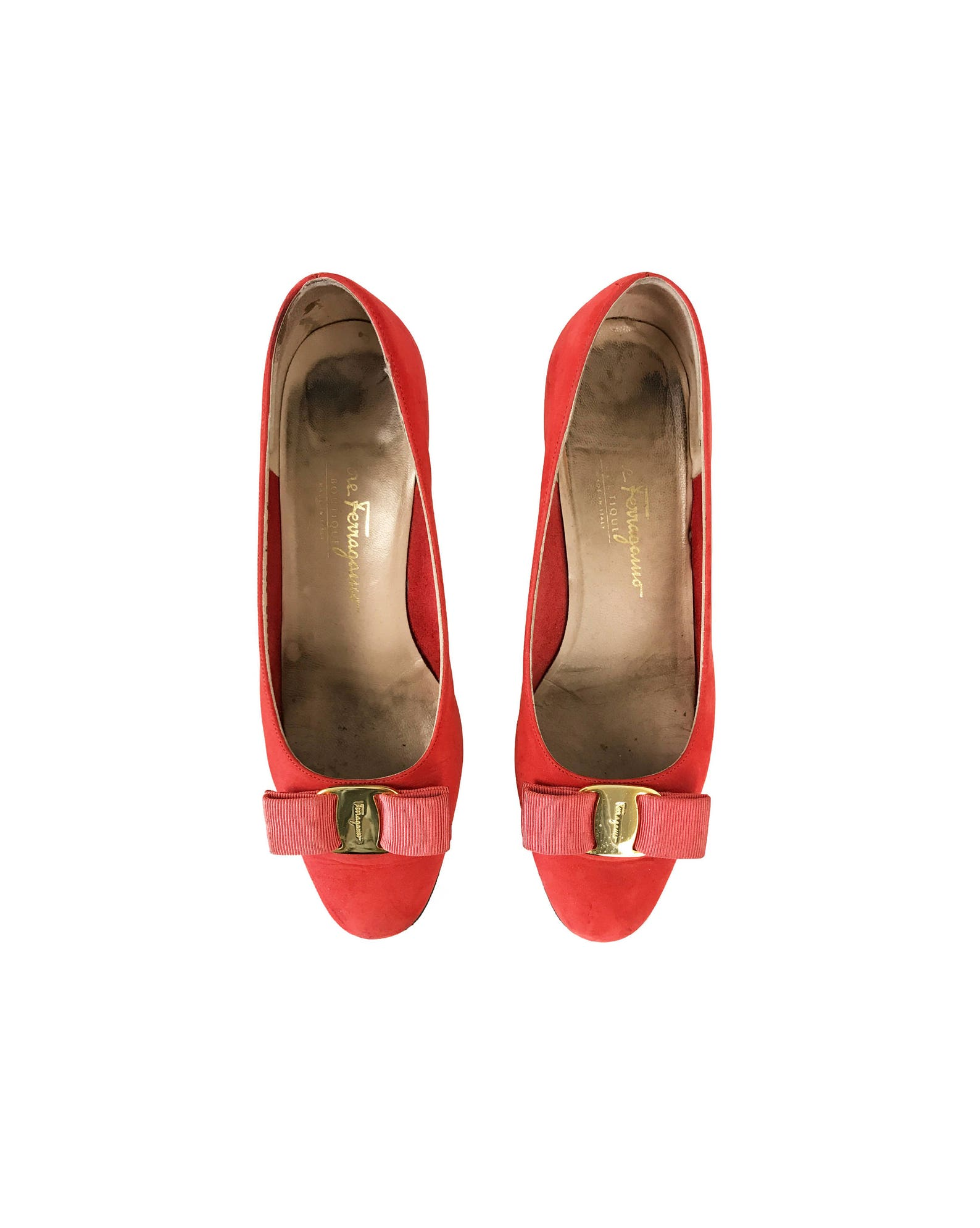 salvatore ferragamo vintage red suede bow logo flats monogram ballet shoes slippers sz 7.5