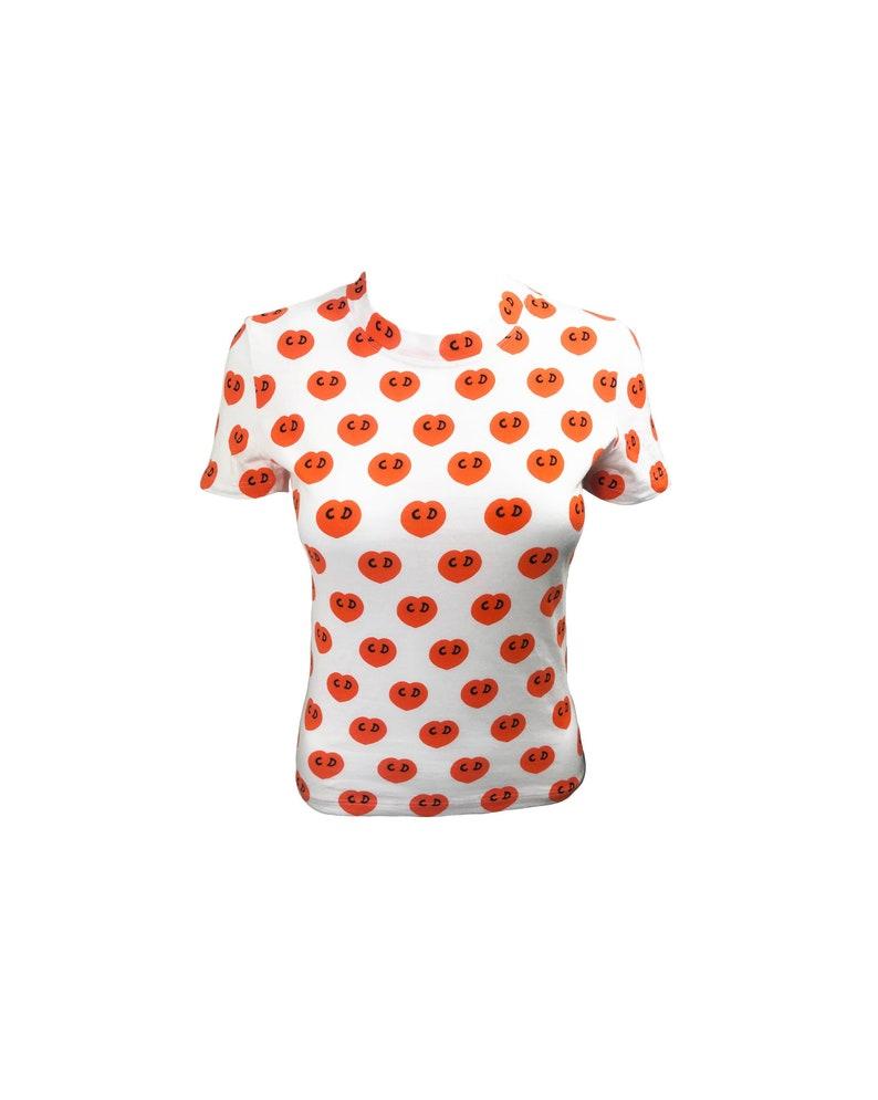 10a91af44a7bc CHRISTIAN DIOR Vintage Heart Logo Top Orange Print T-Shirt Top