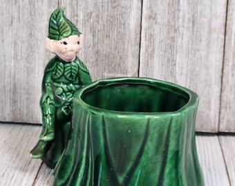 Vintage Green Ceramic Gilner of California Pixie Planter Fairy Garden Planter Fairy Pixie Vintage Planter Unusual Planter