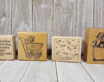 Oh Baby Infant Shower Wood Mounted Rubber Stamp By Rubber Stampede Birth Love A2395B