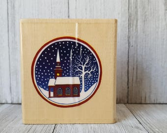 1998 Winter Scene Rubber Stamp by Stamp City, Stamp, Card Making, Rubber Stamping, Scrapbooking, Rubber Stamp, Winter Stamp, Church Stamp