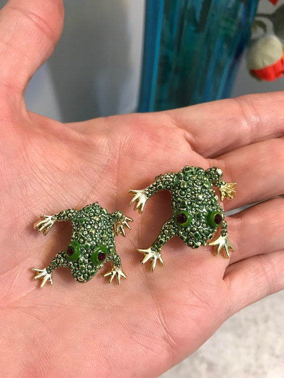 Speckled Frog Earrings with Crystal  Three Styles