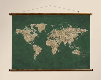 "Pull down canvas world map, 65 x 92 cm / 25.6 x 36.2"""