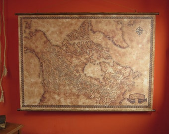 """Fantasy styled map of Canada, Drop down canvas Canada wall map, 125 x 90 cm / 33.1"""" x 23.6"""" wall map, Canvas Canada scroll map"""