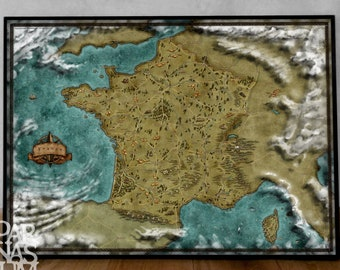 Map of France, Fantasy France map, French map