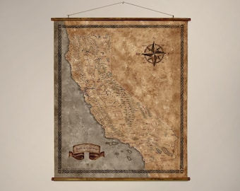 """Fantasy styled map of California, Drop down canvas California wall map, 43.3"""" x 36.6"""" / 110 x 93 cm wall map, Canvas California scroll map"""
