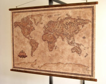 """Fantasy styled world map, pull down canvas world map, 83 x 61 cm / 32.7"""" x 23.6"""" wall map, Vintage world map, Vintage styled map"""