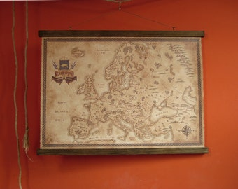 """Fantasy styled map of Europe, pull down canvas Europe map, 80 x 60 cm / 31.5"""" x 23.6"""""""