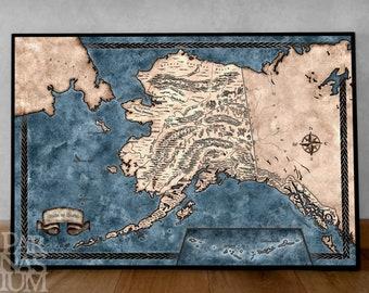 Map of Alaska, Illustrated Alaska map print 18x24 inch