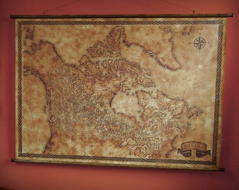 """Drop down canvas map of Canada, 90x125 cm/ 35x49"""""""