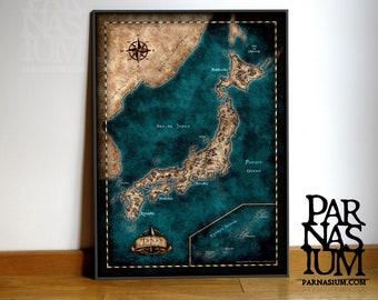Map of Japan, Fantasy Japan map, Japan map