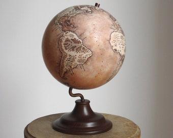 World globe, Handmade fantasy inspired desk globe, Vintage stylized handpainted globe
