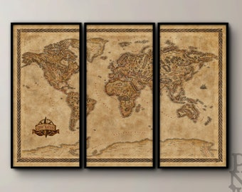 Triptych Fantasy World Map, Illustrated large world map print, Fantasy world map