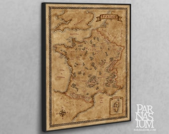 Canvas map of France, Fantasy France map on canvas
