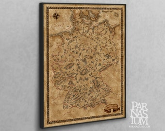 Canvas map of Germany, Fantasy Germany map