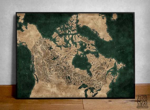 Fantasy Karte.Fantasy Stil Illustriert Karte Von Kanada Kunst Kanada Karte Plakat Karte Drucken Kanada Landkarte Kanada Geschenk Fantasy Kanada Poster