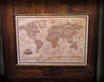 """Pull down canvas world map, Vintage styled fantasy world map, Vintage canvas map, 85 x 60 cm / 33.5"""" x 23.6"""""""