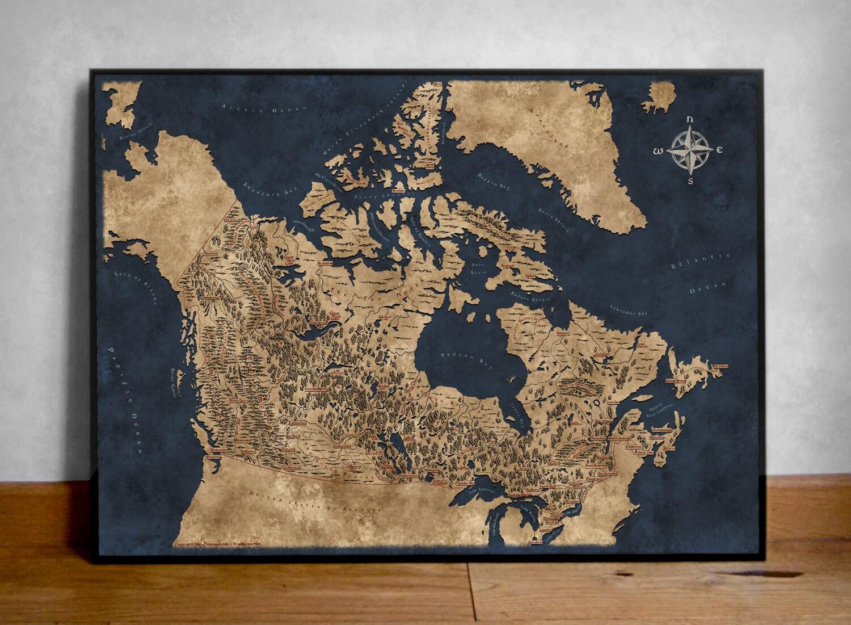 Landkarte von Kanada Kanada Karte Kunst Wand Stil | Etsy
