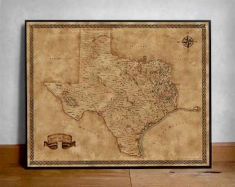 Fantasy Map of Texas Cities, Tx map, Texas map, State of Texas gift, Texas Fantasy map, Old Texas Poster, Texas State Map, Texas Poster