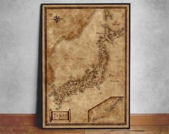 Map of Japan, Fantasy Japan map, Canvas map of Japan
