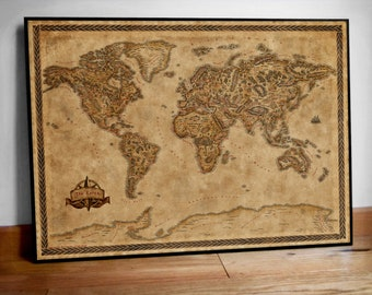 World map poster, Middle earth style map, Illustrated large world map print, Fantasy world map