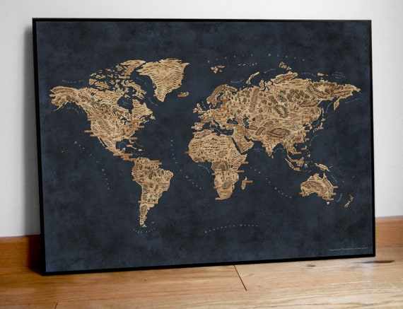 Fantasy map of the world world map poster blue world map etsy image 0 gumiabroncs Images