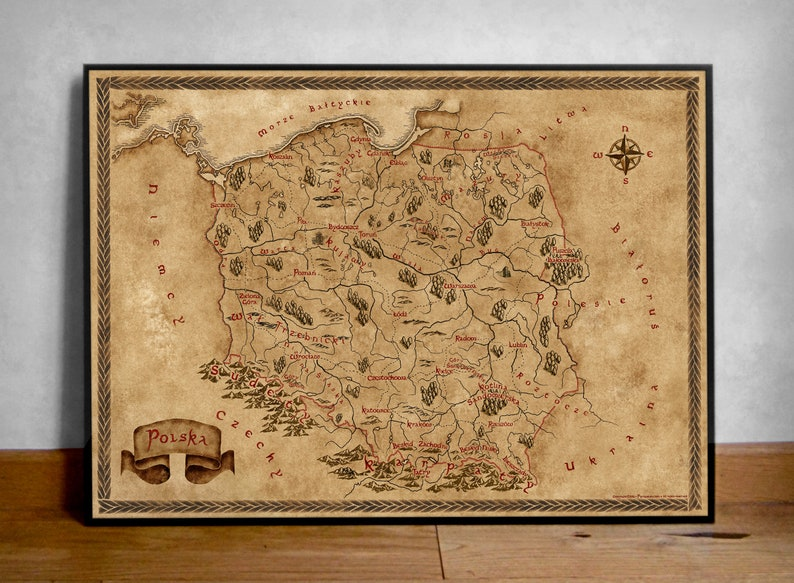 Fantasy Map Of Poland Old Poland Map Vintage Styled Poland Etsy