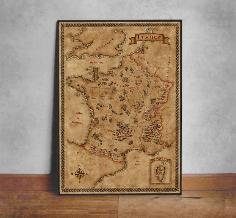 Map Of France Poster.Fantasy Map Of France Wall Art Print Wall Decor Fantasy Map Old Map Of France Vintage French Map France Poster Fantasy Poster