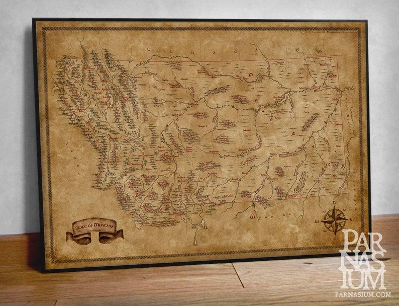 Fantasy Map of Montana Montana state map Fantasy map | Etsy
