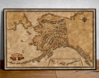 Map of Alaska, Fantasy map Alaska, Alaska state map, Old Map of Alaska