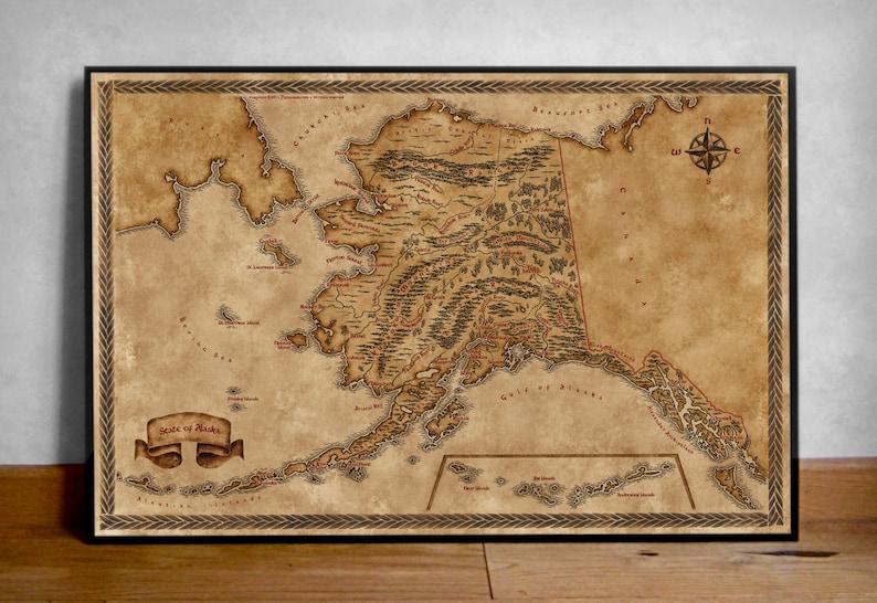 Fantasy Karte.Karte Von Alaska Alaska Zustand Landkarte Ak Karte Fantasy Karte Alte Karte Von Alaska Vintage Alaska Karte Alaska Poster Alaska Von Alaska