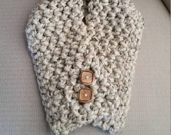 Short Scarf, Crocheted button scarf, Neck scarf, Neck warmer, Mock scarf