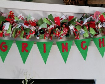 Merry Grinchmas Christmas Garland Banner, Holiday Banner, Christmas Decoration, Grinch themed garland decoration