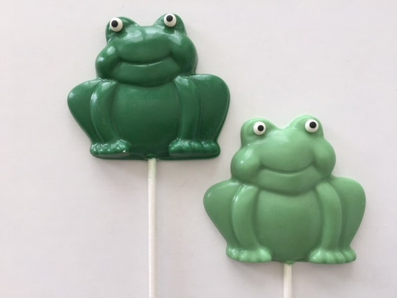 FROG Chocolate Lollipop(12 qty) - Frog Themed Party/Baby Shower/Birthday  Party/Prince Charming/Little Prince/Toad/Kiss a Frog/Frog Prince