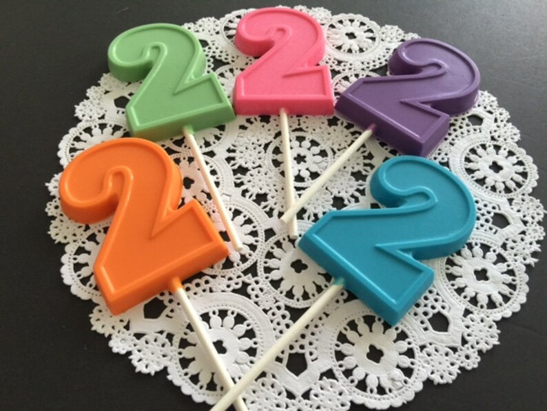 NUMBER TWO Chocolate Lollipops12 Qty 2nd Birthday