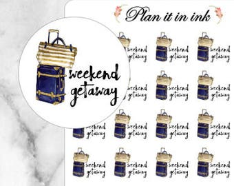 Weekend Getaway Travel Planner Stickers // 35 Stickers // For your Erin Condren, Filofax, and more