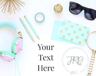 Gold and Teal Desktop Scene Styled Photography for Blogs and Instagram
