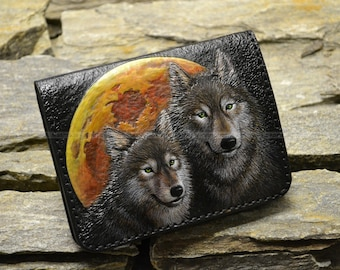"Leather wallet ""The wolf couple"""