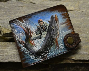 "Leather wallet ""The river predator"""