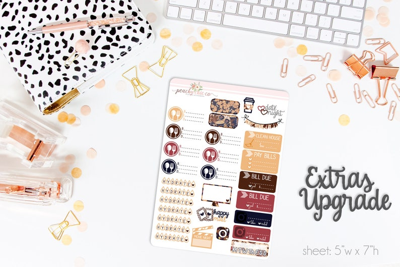 Matte Planner Stickers  Perfect for your Erin Condren Life Planner  WKV0840 Autumn Allure VERTICAL Weekly Kit  140