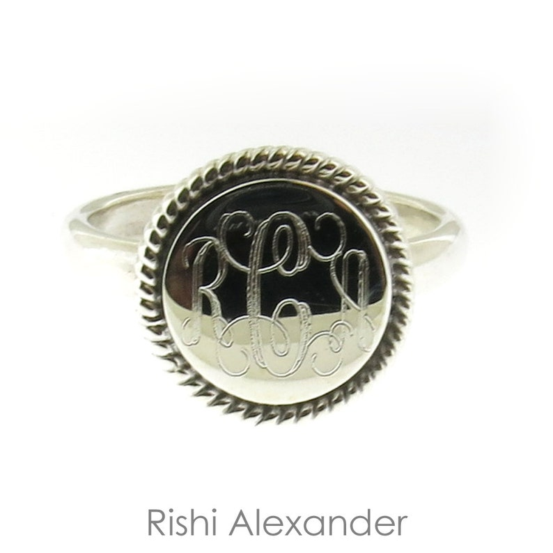 925 Sterling Silver Monogram Round with Rope Edge Signet Ring image 0