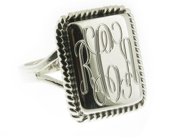 925 Sterling Silver Monogram Engravable Square with Rope Edge Signet Ring