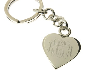 925 Sterling Silver Heart Keychain with Key Ring Monogrammed Engraving