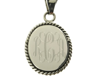 925 Sterling Silver Oval Rope Edge Monogram Personalized Pendant