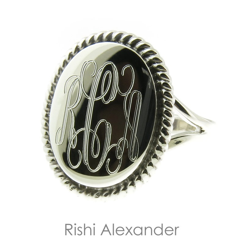 925 Sterling Silver High Polished Monogram Oval with Rope Edge image 1