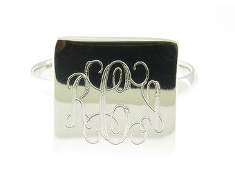 925 Sterling Silver Monogram Engravable Square Signet Band Ring
