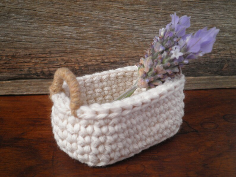Miniature Basket Storage Basket Gift for Her Little Oval Crochet Basket with Handles Cotton /& Jute Natural Decor Cottage Decor