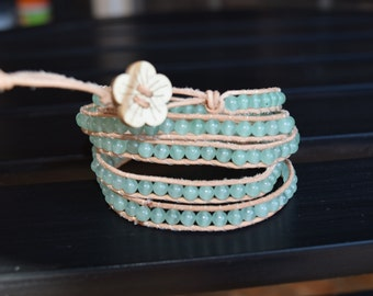 Five Wrap Beaded Bracelet with Flower Button
